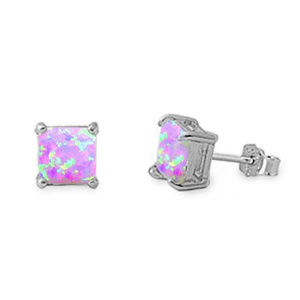 Princess Cut Lab Pink Opal Solitaire Stud Earring
